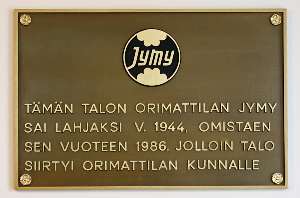 Jymylinna, Orimattila: Tämän talon Orimattilan Jymy sai lahjaksi v. 1944, omistaen sen vuoteen 1986, jolloin talo siirtyi Orimattilan kunnalle., photo 104064, 2008-09-14